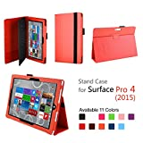 Hix Case for Microsoft Surface Pro 4 - PU Leather Folio Stand Cover with Stylus Holder for Surface Pro 4 12.3 Inch Tablet, Compatible with Surface Pro 4 Type Cover Keyboard (Orange)