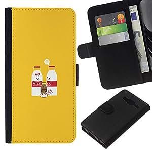 // PHONE CASE GIFT // Moda Estuche Funda de Cuero Billetera Tarjeta de crédito dinero bolsa Cubierta de proteccion Caso Samsung Galaxy Core Prime / Milk & Chocolate Milk Baby - Funny /