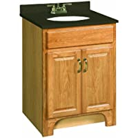 Design House 530386 Richland 2 Door Ready-To-Assemble Vanity, Nutmeg Oak, 24-Inch by 21-Inch
