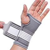 NEOtech Care (TM) Hand Palm Brace, Thumb Support, Band, Sleeve - Elastic & Breathable - Adjustable Compression Strap - Gray Color - Size M - Package contains 1 unit