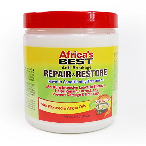 Africa's Best Repair and Restore Deep Conditioning Treatment, Great for Damaged Over Processed Hair, Enriched with Flaxseed and Argan Oil, 15 Ounce Jar