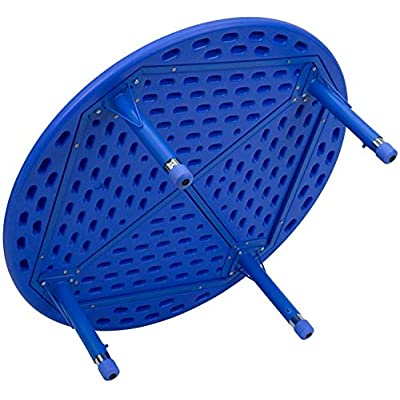 Flash Furniture 45'' Round Blue Plastic Height Adjustable Activity Table Set with 2 Chairs: Kitchen & Dining