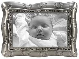 Malden International Designs Ten Little Fingers, Ten Little Toes Pewter Picture Frame, 4x6, Silver