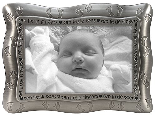 Malden International Designs Ten Little Fingers, Ten Little Toes Pewter Picture Frame, 4x6, Silver Little Frame