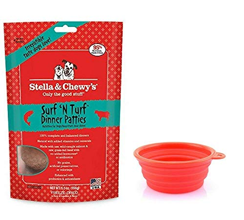 Stella & Chewy's Freeze Dried Dog Food,Snacks 5.5-Ounce Bag & Hot Spot Pet Food Bowl – Made in USA Freeze Dried Dog Food,Snacks 5.5-Ounce Bag & Hot Spot Pet Food Bowl – (Surf N Turf) For Sale