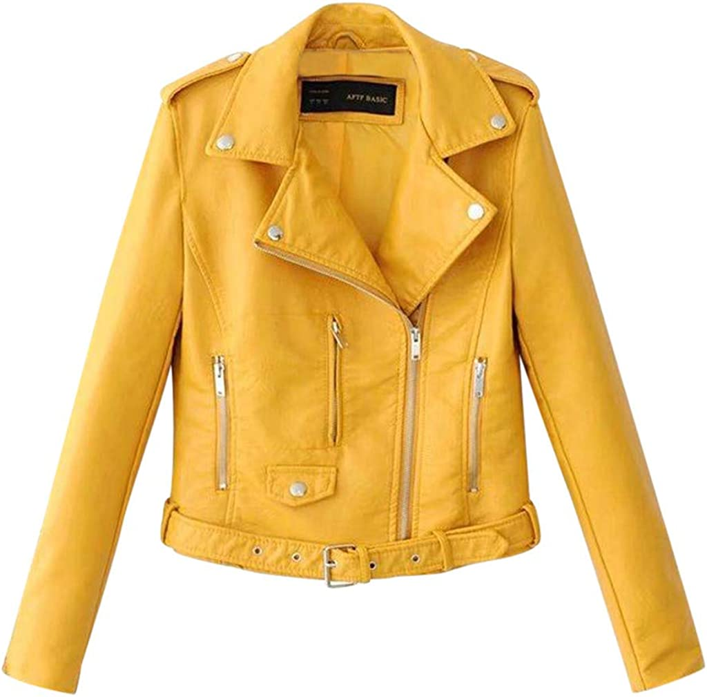 Hotsell〔ㄥ〕Jackets for Women Womens Bandit PU Biker Jacket Ladies Slim Fit Classic Short Biker Style Leather Jacket