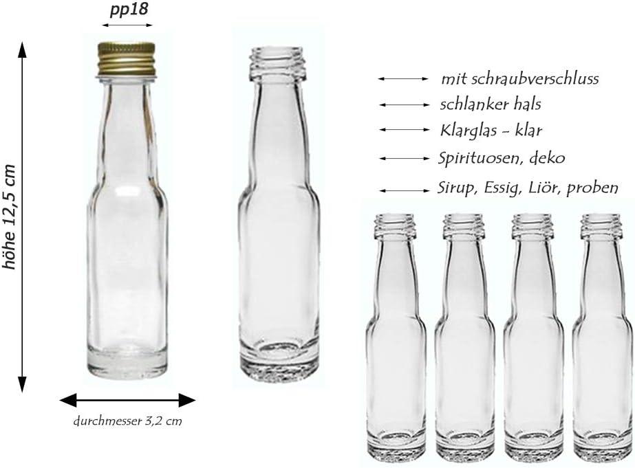 Juego de botellas de cristal de hocz, con cierre de rosca, 20/24 piezas, cantidad de llenado de 40 ml, con cuello de garrafa, vidrio, dorado, 24 Stk