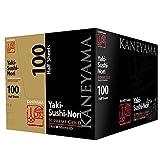 Kaneyama Yaki Sushi Nori / Dried Seaweed (Vacuum-packed/re-sealable), Supreme Gold Grade (Half Size 100 Sheets 10 Packs)