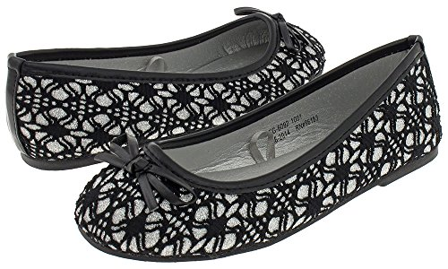 Capelli New York Girl's Lace Covered Glitter Faux Leather Flat Black Combo 3