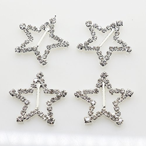 - xinxi New 20pcs 23mm(0.9 inch) Star shaped Crystal Rhinestone Buttons Invitation Ribbon Slider for Ribbons Wedding Supply Gift Wrap Hair bow Center