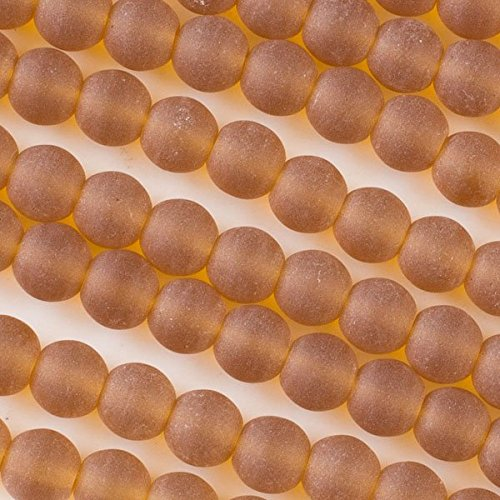 Topaz Blossom (Cherry Blossom Beads Cultured Sea Glass 8mm Topaz Round Beads - 16 inch strand)