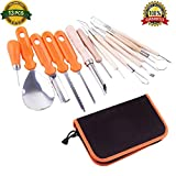 XHSP Halloween Pumpkin Carving Kit 13 Pieces Professional Stainless Steel Pumpkin Carving Tools Set for Halloween with Storage Carrying Case