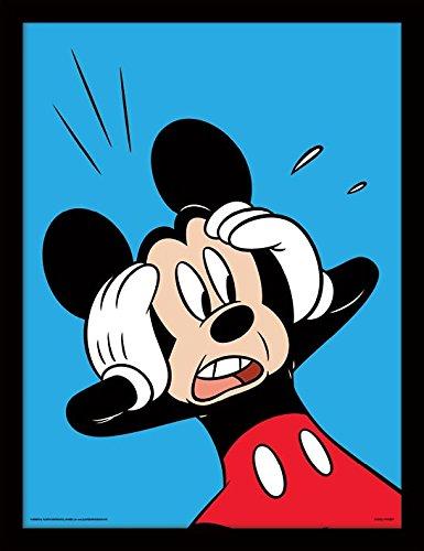 Mickey Mouse 30 x 40 cm sorprendido impresión enmarcada: Amazon.es ...
