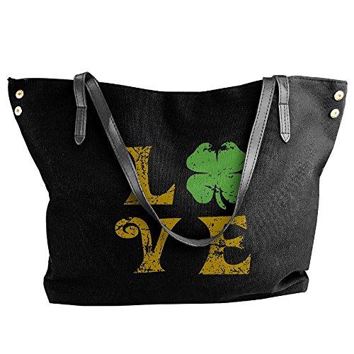Day Large Handbag Bags Canvas Tote Patricks Shamrock Messenger ST Shoulder Women's Black Love B4x0qRH