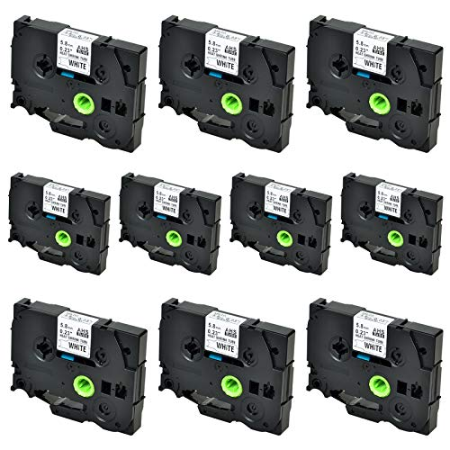 SuperInk 10 Pack Compatible for Brother HSe-211 HSe211 HS-211 HS211 Black on White Heat Shrink Tube Label Tape use in PT-D210 PT-D400 PT-E300 PT-E500 PT-P750WVP Printer (0.23''x 4.92ft, 5.8mm x 1.5m)