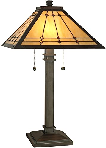 Dale Tiffany TT70734 Craftsman Two Light Table Lamp from Mission Collection