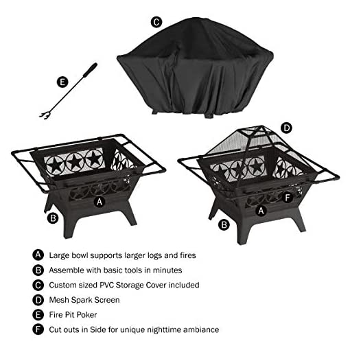 """Fire Pits Pure Garden 50-LG1203 32"""" Outdoor Deep Fire Pit-Square Large Steel Bowl with Star Design, Mesh Spark Screen, Log Poker… firepits"""