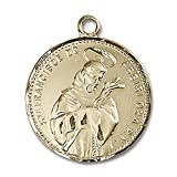 14kt Yellow Gold St. Francis of Assisi Medal 7/8 x 3/4 inches