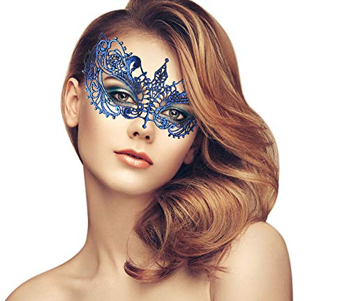duoduodesign Exquisite Lace Masquerade Mask (Blue/Venetian/Soft Version)