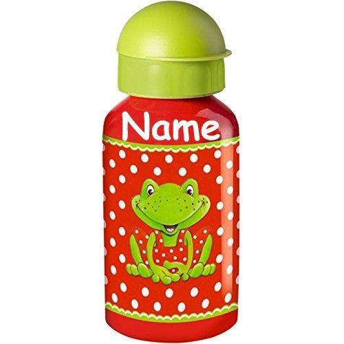 M/ädchen Kinder s/ü/ß Sommer aus Aluminium mit Name Flasche mit und Ohne Namensdruck Trinkflasche * Frosch * f/ür Schule und Kindergarten von Spiegelburg