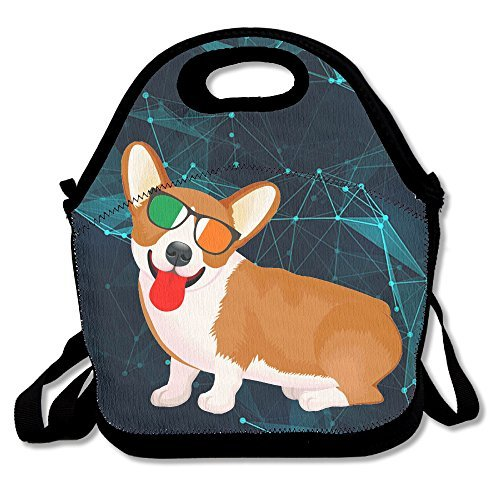 Corgi Irish Flag Sunglasses Handy Portable Zipper Lunch Box Lunch Tote Lunch Tote - Ireland Sunglasses Baby