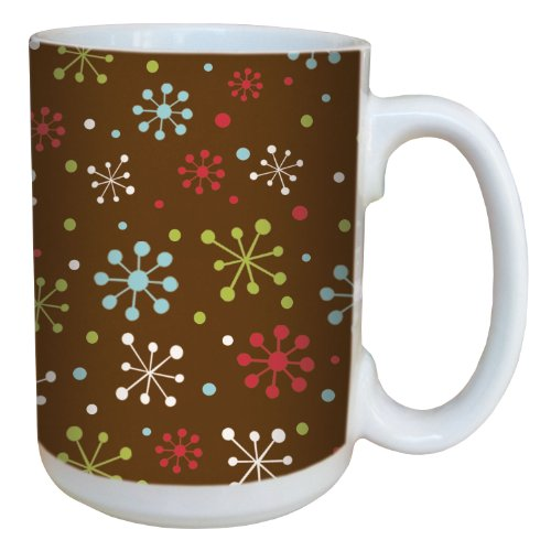 (Tree-Free Greetings 79309 Holiday Snowflakes by Debbie Mumm Ceramic Mug with Full-Sized Handle, 15-Ounce )
