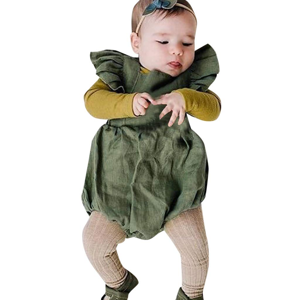 WOCACHI Toddler Baby Girls Clothes Infant Sleeveless Ruffles Solid Bow Backless Romper Bodysuit Outfits