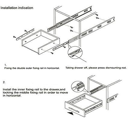 Probrico Push to Open Soft Close Full extension Drawer Slide guide con cuscinetti a sfera 1/paio