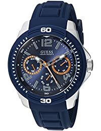 GUESS Men's Quartz Stainless Steel and Silicone Casual Watch, Color:Blue (Model: U0967G2)