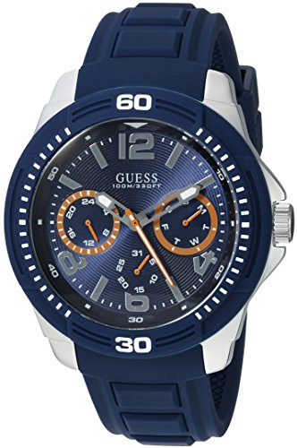 GUESS Men's Quartz Stainless Steel and Silicone Casual Watch, Color:Blue (Model: U0967G2) - Guess Gc Men Watch