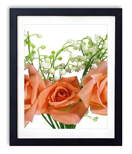 Lily Bouquet The Valley Of (SHADENOV Black Wood Framed Wall Art - Roses Lilys of the valley Bouquet Flowers - Art Print Pictures For Wall Decoration 14x20 Inches)
