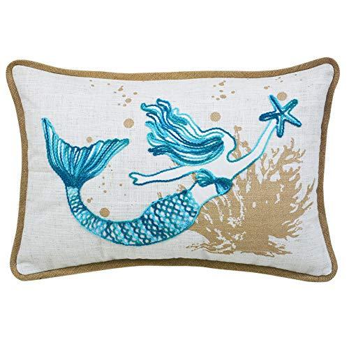 Ocean Sea Mermaid Starfish Coral Coastal Accent Throw Pillow Cushion for Marine Animal Lovers (Starfish Cushion)