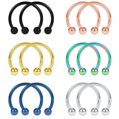 - SCERRING 12PCS 14mm Mix Color Stainless Steel Nose Horseshoe Hoop Rings Eyebrow Lip Ear Tragus Septum Piercing Hanger Retainer 16G