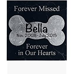 Personalized Memorial Pet Headstone Customized - Forever Missed Forever In Our Hearts - 12 x 12 Black Marble