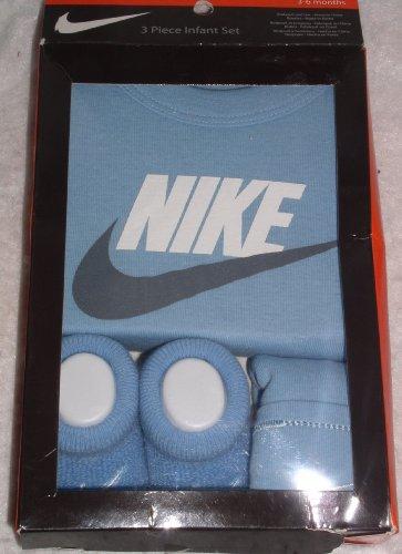 Nike Girl Boy Lap Shoulder Bodysuit, Booties, Infant Cap 3 - 6 Months - Baby Blue