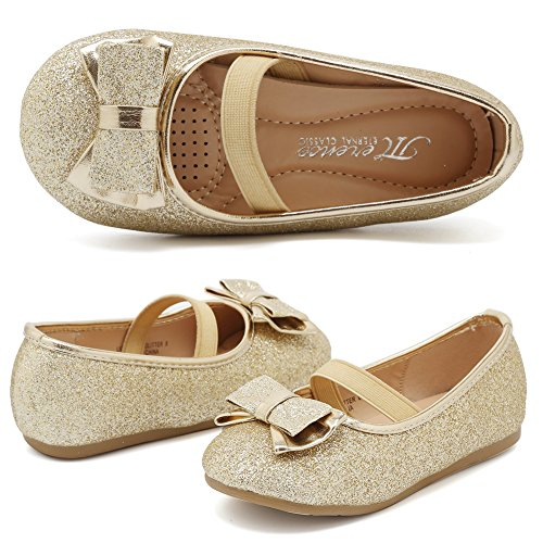 CIOR Girls Ballet Flats Shoes Bowknot Wedding Toddlers,A3,Light Gold Glitter,26 (Gold Shoes Toddler)