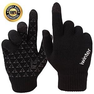 Achiou Touchscreen Knit Gloves Winter Warm for Women Men Wool Lined Texting (Black for Women)