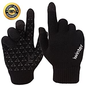Achiou Winter Knit Gloves Touchscreen Warm Thermal Soft Lining Elastic Cuff Texting Anti-Slip 3 Size Choice for Women Men 1