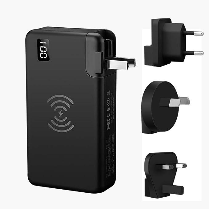 DoSHIN - Cargador portátil de 10000 mAh, 2 Puertos USB, batería Externa con Pantalla Digital LED, Cargador Externo portátil para iPhone, iPad, Samsung ...