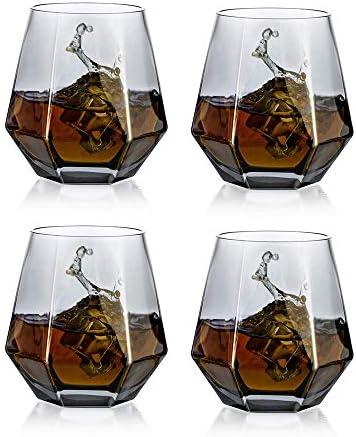 Juego De 4 Vasos De Whisky De Diamante Inclinados, Vaso De Whisky De 300 Ml, Aspecto Moderno para Hombres, Mujeres, Papá, Esposo, Amigos, Cristalería para Vaso De Whisky/Ron/Borbón