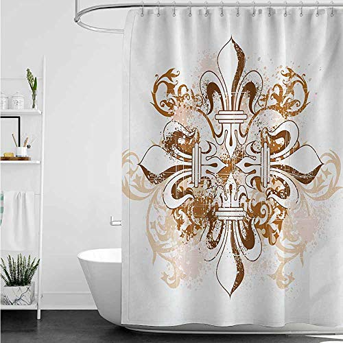 home1love Polyester Fabric Shower Curtain,Fleur De Lis Ancient Antique Heraldry Symbol Vintage Floral Swirls Traditional Old Fashion,Shower Curtain with Hooks,W72x84L,Brown White