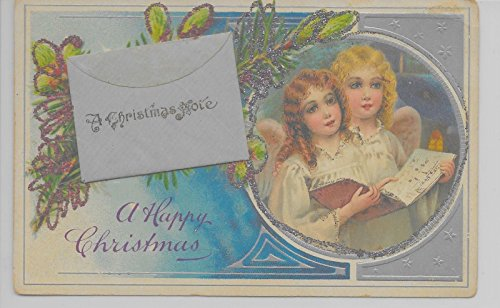 Happy Christmas angels songbook attached envelope glitter antique pc Z10344