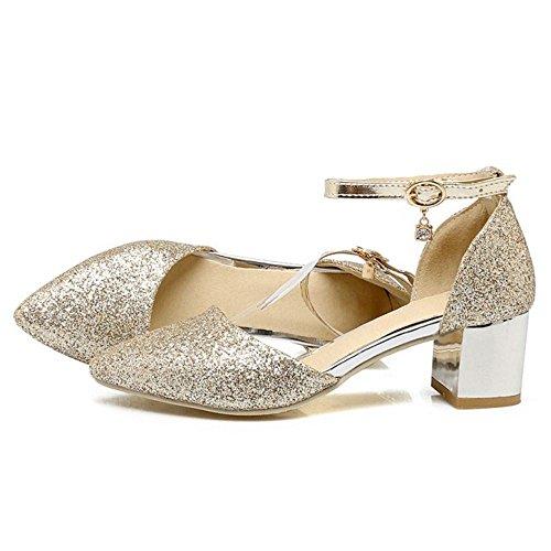 1 Sandales Bride TAOFFEN Cheville Femmes Gold Fv11X8x