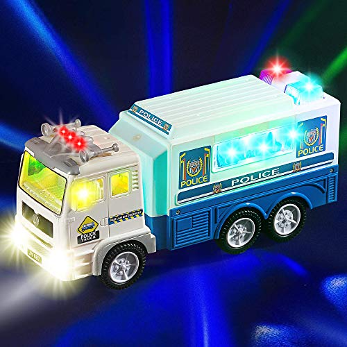 Zetz Brands Police Car Toy Truck for Kids with 4D Lights and Sounds - Battery Operated Automatic Bump & Go Car - Cop Command Center Vehicle…