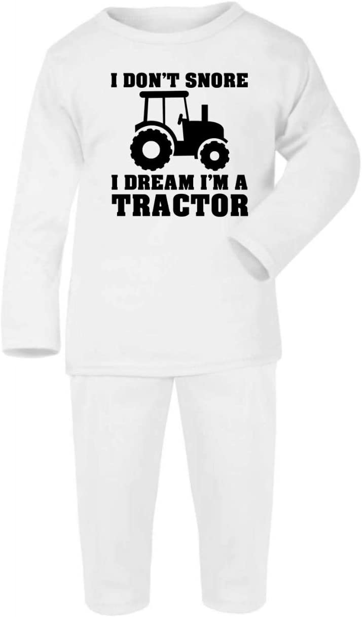 I Dont Snore I Dream Im a Tractor Cotton Baby PJ Pajama Set Long Sleeve 1-2 Years Grey