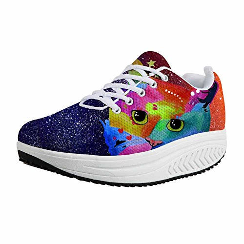 Animal Mesh Painting 6 Height Platform Wedges Painting Animal U Increasing Toning DESIGNS Swing Shoes Women FOR CzUfwqOxnO