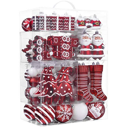 Valery Madelyn 155ct Traditional Shatterproof Christmas Ball Ornaments Decoration Red and White,1.18Inch-6.5Inch,Themed with Tree Skirt(Not Included) (And White Green Theme Christmas)