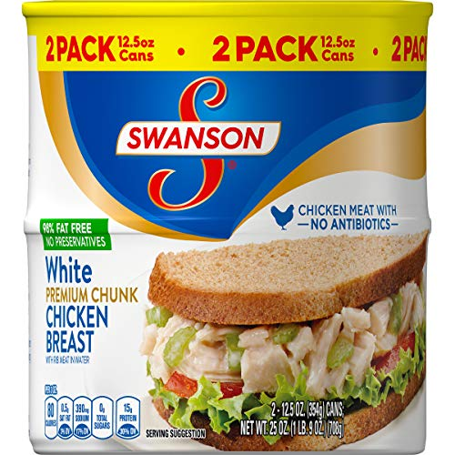 Swanson Premium White Chunk Chicken Breast, 12.5 oz. Can, 2 Count (Pack of 6)