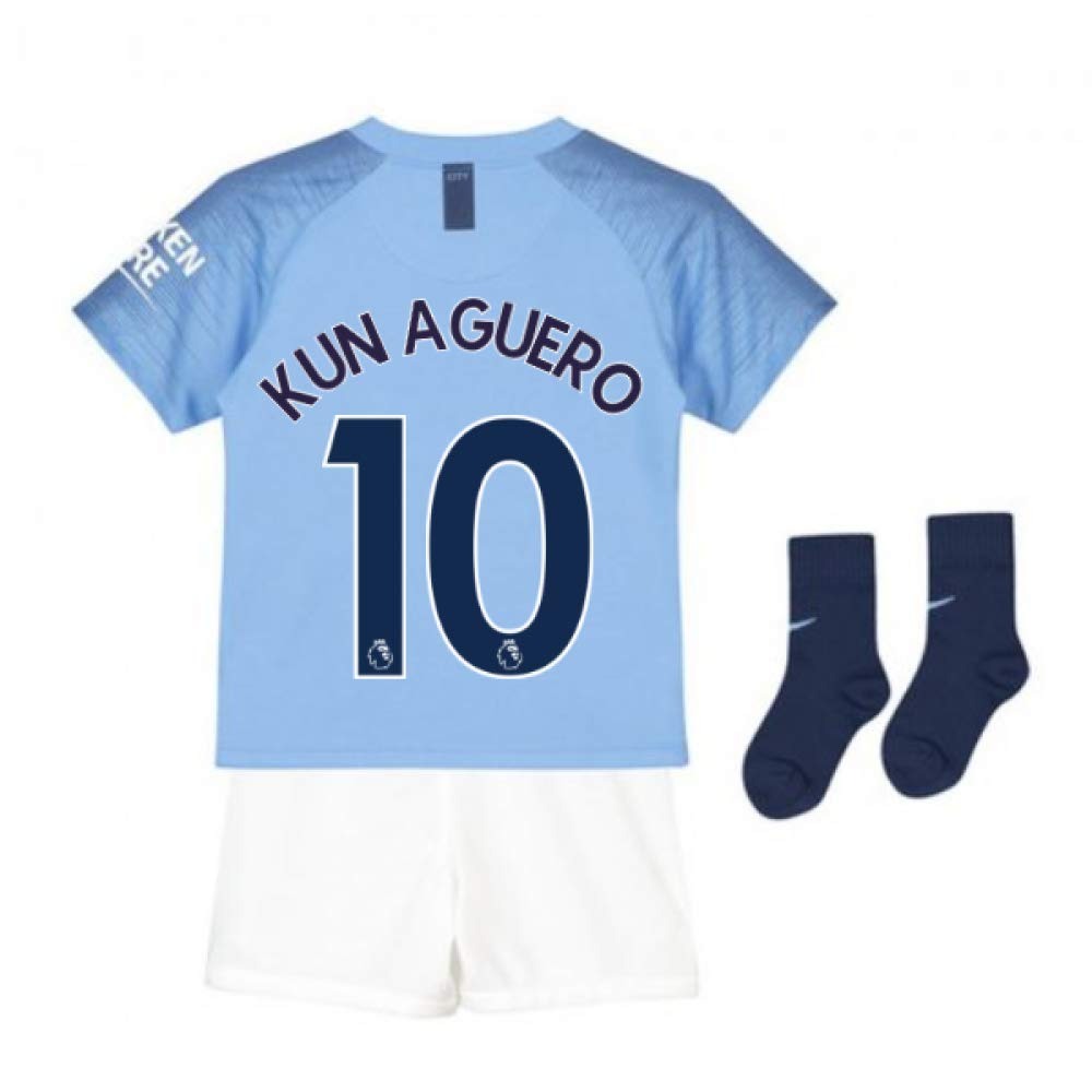 UKSoccershop 2018-2019 Man City Home Nike Little Boys Mini Kit (Sergio Aguero 10)