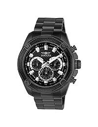 Invicta Men's Aviator Black Steel Bracelet & Case Quartz Analog Watch 22807